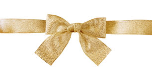 Golden ribbon and bow Stock Photos