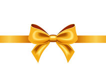 Golden ribbon with bow. Vector illustration. Royalty Free Stock Photography