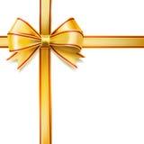 Golden ribbon bow on white. decorative design element Stock Photos