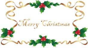 Golden Ribbon Christmas Border Stock Images