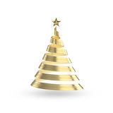 Golden Ribbon Christmas Tree Stock Image