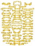 Golden ribbon collection Royalty Free Stock Photos