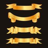 Golden ribbon decoration elements. Ribbons horizontal label template set. Vector illustration Stock Photography