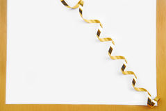 Golden ribbon and frame Stock Image