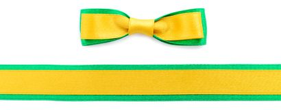 Golden and green ribbon border. Golden ribbon and green border isolated on white background stock photography
