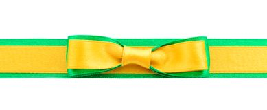 Golden and green ribbon border. Golden ribbon and green border isolated on white background royalty free stock images