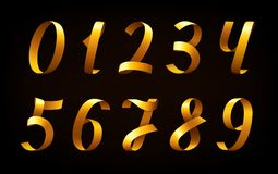 Golden ribbon numbers on black background Royalty Free Stock Photo