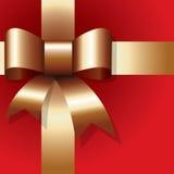 Golden ribbon on red stock illustration