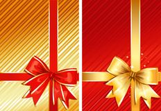 Golden Ribbon & Red Ribbon / two gifts / vector Royalty Free Stock Images