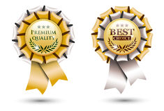 Golden ribbon rosette Royalty Free Stock Images