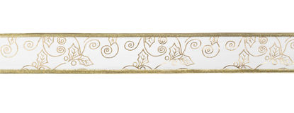 Golden ribbon on white Royalty Free Stock Images