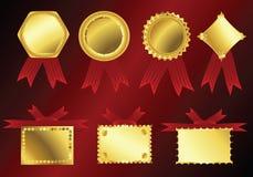 Golden ribbons. Vector golden ribbons on red velvet background Royalty Free Stock Photography