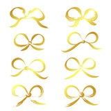 Golden ribbons Stock Images