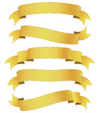 Golden ribbons. Set of five curled golden ribbons, illustration Royalty Free Illustration