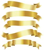 Golden ribbons. Set of five curled golden ribbons, illustration Stock Illustration