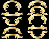 Golden ribbons. Set of golden striped ribbons on black background Stock Image