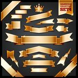 Golden Ribbons Banners Collection Set4 Royalty Free Stock Photography