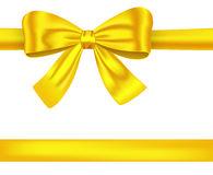 Golden ribbons with bow on white. Golden satin gift ribbons with luxurious bow for decorations. Vector illustration vector illustration