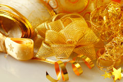 Golden ribbons and bows Royalty Free Stock Images