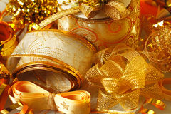 Golden ribbons and bows Stock Image