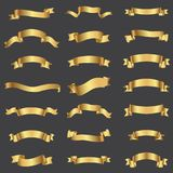 Golden ribbons collection. illustration Stock Image