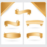 Golden ribbons and corners. Collection Stock Illustration