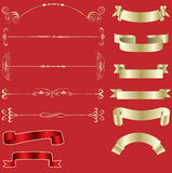 Golden ribbons and design elements. Vector illustration stock illustration
