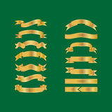 Golden Ribbons Isolated On Green Background, Vector illustration, Graphic Design Useful For Your Design or banners for your text. Royalty Free Stock Photo