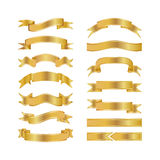 Golden Ribbons Isolated On White Background, Vector illustration, Graphic Design Useful For Your Design or banners for your text. Stock Photography