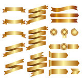 Golden Ribbons Isolated On whte Background, Vector illustration, Graphic Design Useful For Your Design or banners for your text. L Royalty Free Stock Photography
