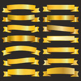 Golden ribbons pack Royalty Free Stock Photography