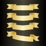 Golden ribbons set Stock Photos