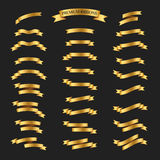 Golden ribbons vector set on black background. Premium ribbons  Stock Photography
