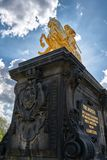 The golden rider in the city center of Dresden Royalty Free Stock Photography