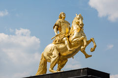 Golden rider in Dresden, Germany Royalty Free Stock Image
