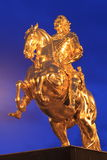 Golden rider in Dresden. The statue of golden rider at sunset in Dresden, Germany Stock Photo