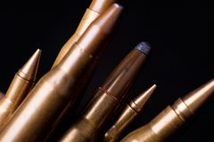 Golden Rifle Bullets Stock Photo