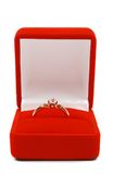 Golden ring. In red gift box Royalty Free Stock Photography