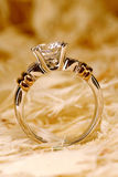 Golden ring. Close-up of a beautiful diamond ring Royalty Free Stock Photos
