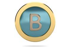 Golden ring with alphabet B on white background.3D illustration. Golden ring with alphabet B on white background. 3D illustration Stock Photo