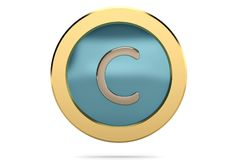 Golden ring with alphabet C on white background.3D illustration. Golden ring with alphabet C on white background. 3D illustration Stock Photos