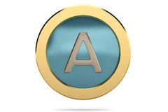 Golden ring with alphabet A on white background.3D illustration. Golden ring with alphabet A on white background. 3D illustration stock illustration