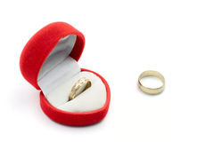 Golden ring and box Stock Photo