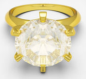 Golden ring with brilliant. 3D graphic of cut diamond and golden ring Stock Photos