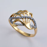 Golden ring with brilliants Royalty Free Stock Photography