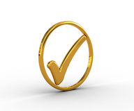 Golden ring with check mark Stock Photo