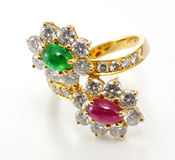 Golden Ring with Diamond and gemstone Royalty Free Stock Photography