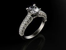 Golden Ring with Diamond Stock Images