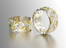 Golden Ring with Diamond. Jewelry background Stock Photos