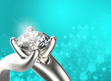 Golden Ring with Diamond. Jewelry background Stock Image